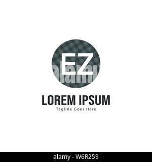 Initial EZ logo template with modern frame. Minimalist EZ letter logo vector illustration design - Stock Photo