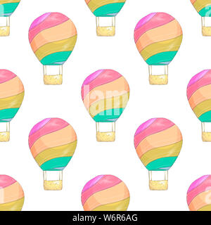 Seamless primitive retro background with party balloons of different colors ideal for baby shower - Stock Photo