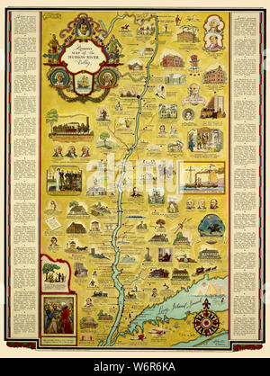 Map Of The Hudson River Valley 1937 - Stock Photo