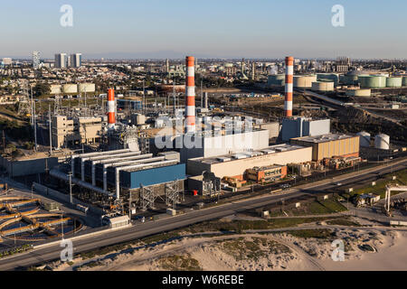 Los Angeles, California, USA - December 17, 2016:  Aerial view of Scattergood Steam Plant electric power generating facility near Dockweiler state bea - Stock Photo