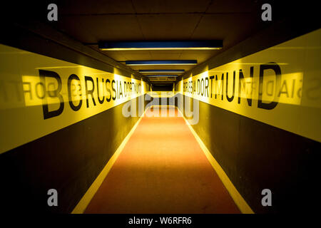 Player tunnel, access for players in Signal-Iduna-Park, Westfalenstadion, football stadium of BVB Borussia Dortmund, in black-yellow club colours, - Stock Photo
