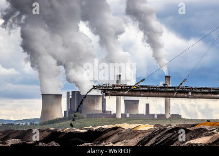 RWE Power Weisweiler lignite-fired power plant near Ecschweiler, at the Inden opencast lignite mine, large lignite-fired power plant with 4 units and - Stock Photo
