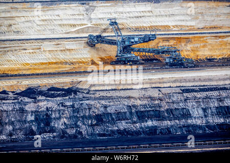 Brown coal open cast mine Inden, filling area in open cast mine, bucket wheel excavator 275, - Stock Photo