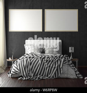 Two horizontal poster frame mockups above the bed on black wall in bedroom. Soft morning light through the curtain. 3d illustration - Stock Photo
