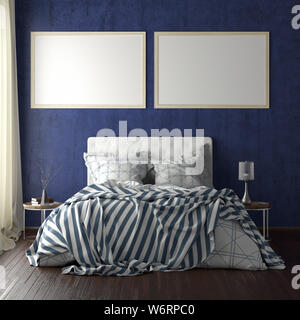 Two horizontal poster frame mockups above the bed on blue wall in bedroom. Soft morning light through the curtain. 3d illustration - Stock Photo