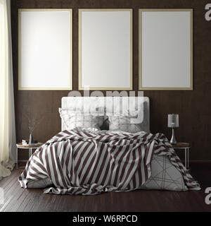 Three vertical poster frame mockups above the bed on brown wall in bedroom. Soft morning light through the curtain. 3d illustration - Stock Photo