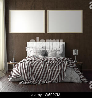 Two horizontal poster frame mockups above the bed on brown wall in bedroom. Soft morning light through the curtain. 3d illustration - Stock Photo