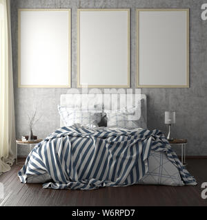 Three vertical poster frame mockups above the bed on concrete wall in bedroom. Soft morning light through the curtain. 3d illustration - Stock Photo