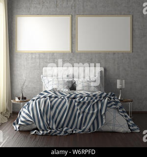 Two horizontal poster frame mockups above the bed on concrete wall in bedroom. Soft morning light through the curtain. 3d illustration - Stock Photo