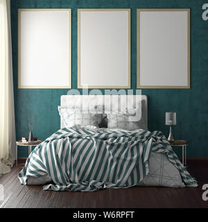Three vertical poster frame mockups above the bed on cyan wall in bedroom. Soft morning light through the curtain. 3d illustration - Stock Photo