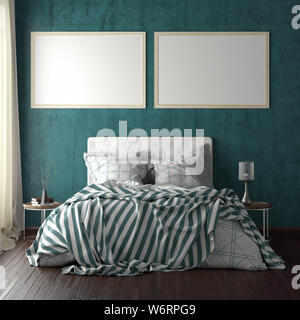 Two horizontal poster frame mockups above the bed on cyan wall in bedroom. Soft morning light through the curtain. 3d illustration - Stock Photo