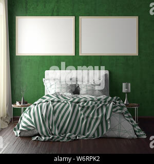 Two horizontal poster frame mockups above the bed on green wall in bedroom. Soft morning light through the curtain. 3d illustration - Stock Photo