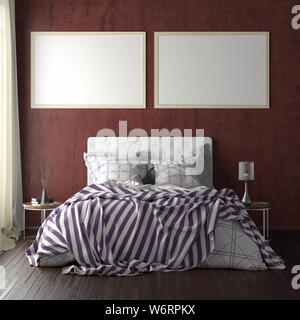 Two horizontal poster frame mockups above the bed on red wall in bedroom. Soft morning light through the curtain. 3d illustration - Stock Photo