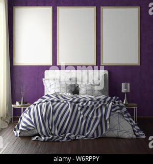 Three vertical poster frame mockups above the bed on violet wall in bedroom. Soft morning light through the curtain. 3d illustration - Stock Photo