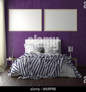 Two horizontal poster frame mockups above the bed on violet wall in bedroom. Soft morning light through the curtain. 3d illustration - Stock Photo