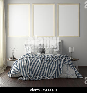 Three vertical poster frame mockups above the bed on white wall in bedroom. Soft morning light through the curtain. 3d illustration - Stock Photo