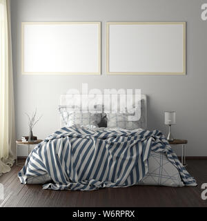 Two horizontal poster frame mockups above the bed on white wall in bedroom. Soft morning light through the curtain. 3d illustration - Stock Photo