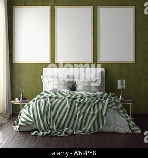 Three vertical poster frame mockups above the bed on yellow wall in bedroom. Soft morning light through the curtain. 3d illustration - Stock Photo