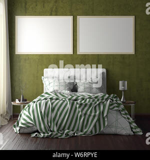 Two horizontal poster frame mockups above the bed on yellow wall in bedroom. Soft morning light through the curtain. 3d illustration - Stock Photo