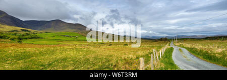 Beautidul landscape of the Killarney National Park on cloudy day. Hiking in County Kerry, Ireland. - Stock Photo