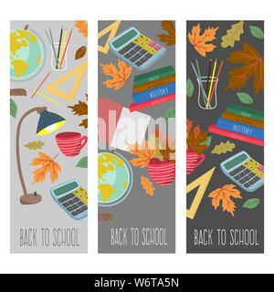 Back to school. Cute flat vector set vertical banners with stationery,autumn leaves, books and other - Stock Photo
