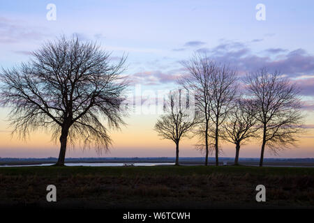 Winter sunset at Saint Valery sur Somme, France - Stock Photo