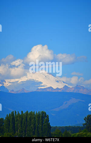 Views of Mount Baker as seen from La Conner, Washington in the Skagit Valley - Stock Photo