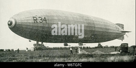 This photo dates to the early 1920s. The caption reads:The British Dirigible R-34 which flew across the Atlantic, July 6, 1919. - Stock Photo
