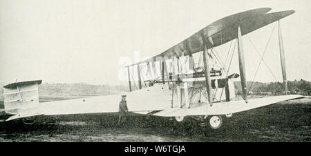 This photo dates to the early 1920s. The caption reads: The British Vickers-Vimy bombing plane, which made the first non-stop flight across the atlantic, June 16, 1919. - Stock Photo