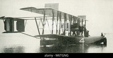 This photo dates to the early 1920s. The caption reads: American Navy Seaplane NC-4 which crossed the ocean with one stop at the Azores, reaching Portugal, May 27, 1919. - Stock Photo