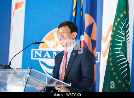 (190802) -- WALVIS BAY (NAMIBIA), Aug. 2, 2019 (Xinhua) -- Li Yi, Vice President of China Harbor Engineering Company Ltd (CHEC), speaks at the inauguration ceremony of the new container terminal in Walvis Bay, Namibia, Aug. 2, 2019. Namibia's quest to become an international trade hub and gateway advanced further Friday with the official inauguration of the country's 400-million-U.S.-dollar new container terminal in Walvis Bay by the county's President Hage Geingob. The new container terminal located in the port town of Walvis Bay was constructed on 40 hectares of land reclaimed from the sea b - Stock Photo