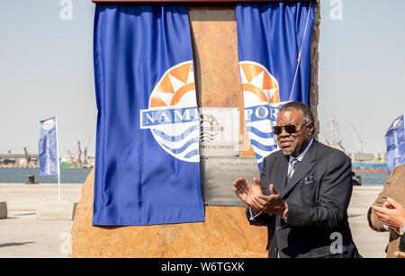(190802) -- WALVIS BAY (NAMIBIA), Aug. 2, 2019 (Xinhua) -- Namibia's President Hage Geingob attends the inauguration ceremony of the new container terminal in Walvis Bay, Namibia, Aug. 2, 2019. Namibia's quest to become an international trade hub and gateway advanced further Friday with the official inauguration of the country's 400-million-U.S.-dollar new container terminal in Walvis Bay by the county's President Hage Geingob. The new container terminal located in the port town of Walvis Bay was constructed on 40 hectares of land reclaimed from the sea by China Harbor Engineering Company Ltd - Stock Photo