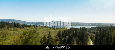 Aerial panoramic view of residential neighborhood in North Vancouver during a sunny day. Located in British Columbia, Canada. - Stock Photo