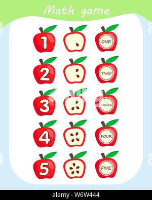 Math educational game for children. Counting Game for Preschool Children. Count apples in the picture. - Stock Photo