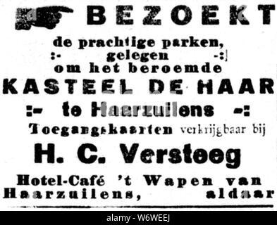 De Gooi- en Eemlander vol 044 no 049 advertisement BEZOEKT de prachtige parken gelegen om het beroemde KASTEEL DE HAAR te Haarzuilens. - Stock Photo