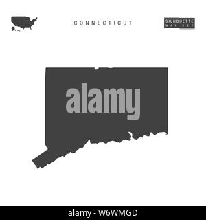 Connecticut US State Blank Map Isolated on White Background. High-Detailed Black Silhouette Map of Connecticut. - Stock Photo