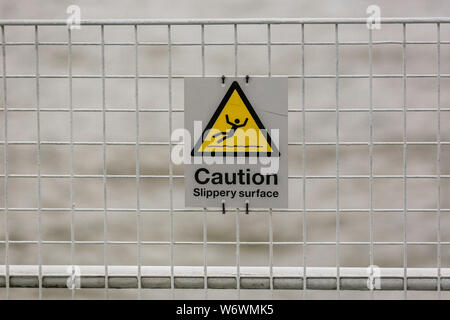 Caution Slippery Surface Sign - Stock Photo