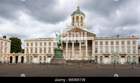 Place Royale Bruxelles, original Royal Palace and old market place, Brussels, Belgium - Stock Photo