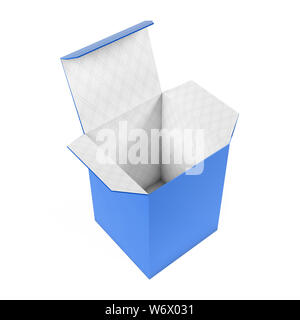 Blue high box. Open carton with white inside. 3d rendering illustration isolated on white background - Stock Photo
