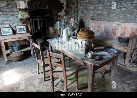 Interior of restored farm cottage at Slea Head Famine Cottages at Fahan on the Dingle Peninsula, County Kerry, Republic of Ireland
