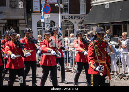 Royal Dutch guards in ceremonial uniform marching at the parade on the 2018 Veterans' Day in The Hague - Stock Photo