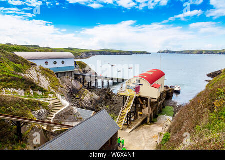 The old and new St Davids lifeboat stations at St Justinian,  Pembrokeshire Coast National Park, Wales, UK - Stock Photo