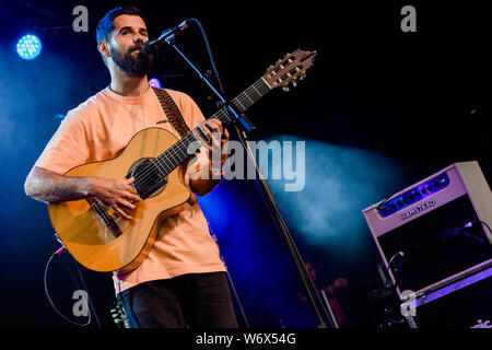 Cambridge, UK. 2nd August 2019. English musician, singer and songwriter Nick Mulvey performs at Stage 2 during the Cambridge Folk Festival. Richard Etteridge / Alamy Live News - Stock Photo