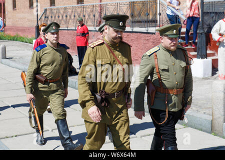 Novokuznetsk, Russia 07.07.2019 G., the Staff of the historical club in the form of the Russian soldier, the events of the First world war. editorial - Stock Photo