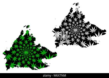 Sabah (States and federal territories of Malaysia, Federation of Malaysia) map is designed cannabis leaf green and black, Sabah map made of marijuana - Stock Photo