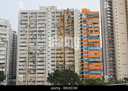 Crowded High Rise Residential Accommodation, Aberdeen, Hong Kong - Stock Photo