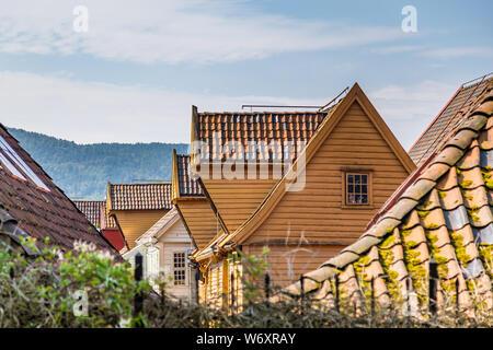 Historical buildings in Bryggen, Hanseatic wharf in Bergen, Norway. UNESCO's World Heritage Site