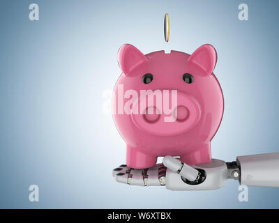 Financial technology concept with 3d rendering cyborg hand holding piggy bank - Stock Photo