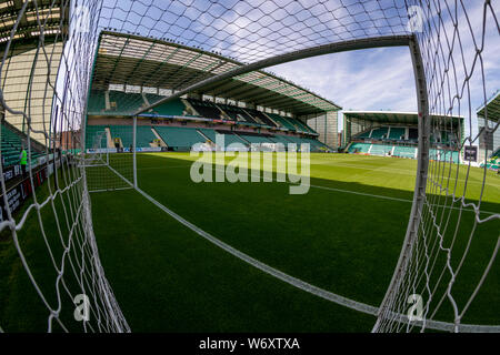 3rd Aug 2019, Easter Road Stadium, Leith, Edinburgh, Scotland; Scottish Premiership football Hibernian Football Club versus St Mirren; General view of a sunny Easter Road Stadium - Stock Photo