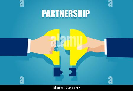 Business idea and partnership concept. Vector of two businessmen bringing together puzzle pieces - Stock Photo